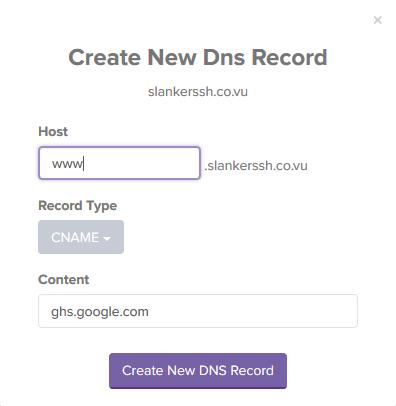 isi kan name dan point to yang muncul saat anda menambahkan domain