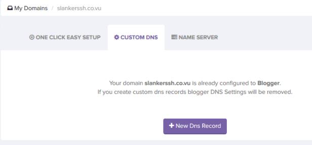 Klik new dns record